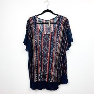 Patterned Blue & Red Knit Coverup